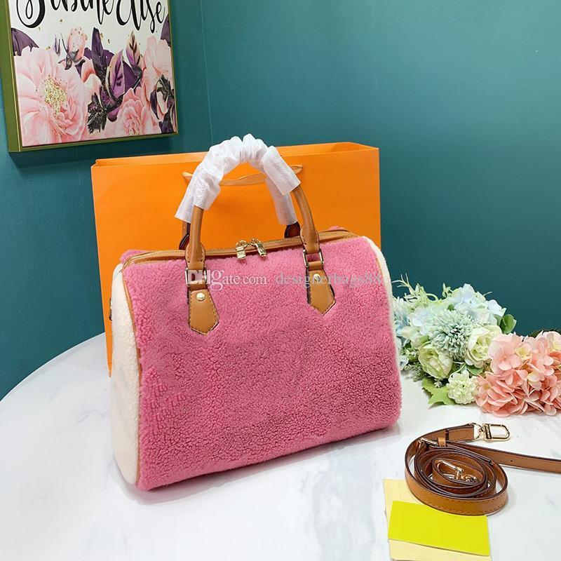 Klassische Lammtaschen 30 cm Damen Tasche Einzelne Geldbörsen Frauen Schulter Blume Reisetaschen Einkaufen Handtaschen Kissen Crossbody Print AGKDQ