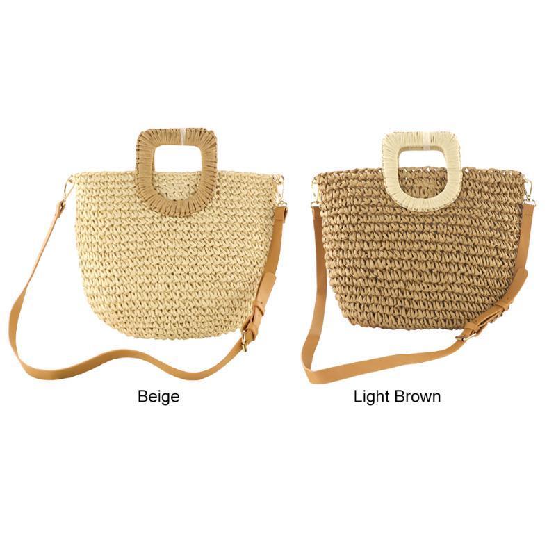 Handgemachte Sommer-Strand-Rattan gesponnene Stroh-Beutel-Sommer-Frauen Messenger Umhängetaschen Mädchen Small Beach-Handtasche 2020