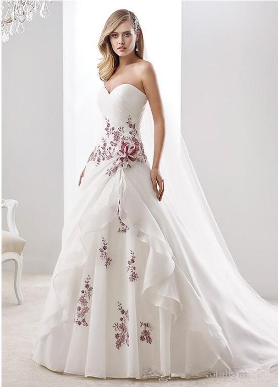 A-Line Branco e vestidos de casamento vermelhos 2020 New design de venda quente feito sob encomenda Trem da varredura Organza País vestidos de noiva Vestidos de Novia W614