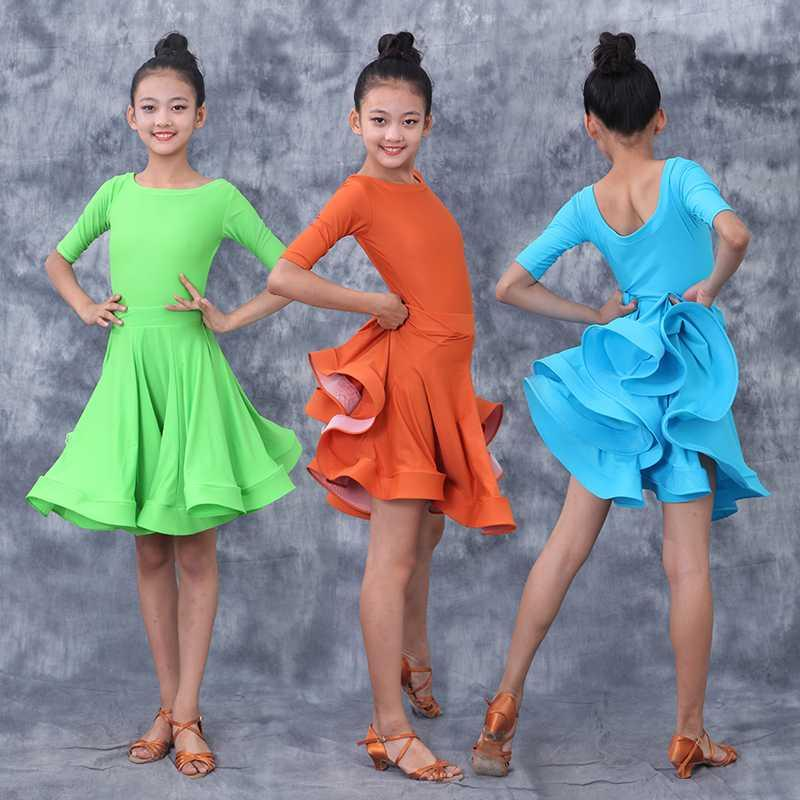 2020 Children's Latin Dance Costumes Practice Clothes Girls Latin Competition Dance Dresses Chacha Tango Performance Clothes