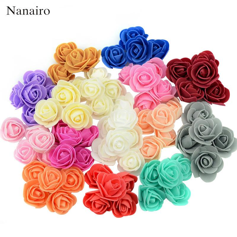 50pcs/bag Mini Pe Foam Rose Flower Head Artificial Rose Flowers Handmade Diy Wedding Home Decoration Festive & Party Supplies C19030201