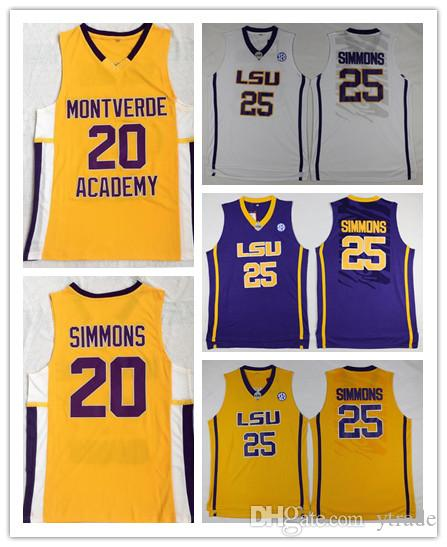 NCAA LSU Tigers College Ben Simmons Jersey Escuela Secundaria Montverde Academy Eagles Ben Simmons Jersey Baloncesto Sticthed Blanco Amarillo Púrpura