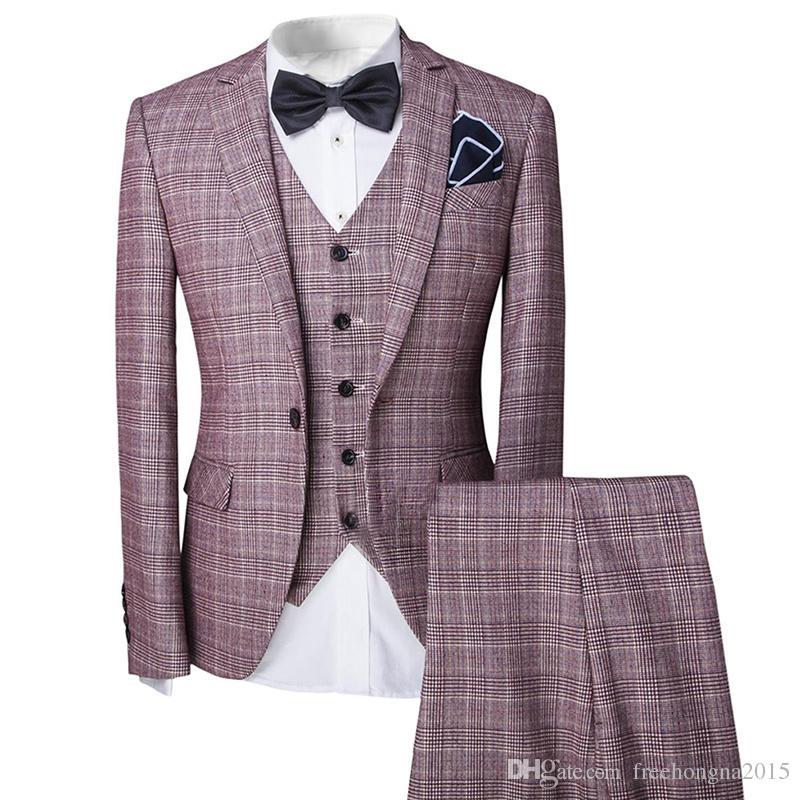 New Pattern Formal Men Mens Pink Fashion Dress Plaid Suit Blazer Jacket & Vest & Trousers Set 3-Piece Wedding Prom Party