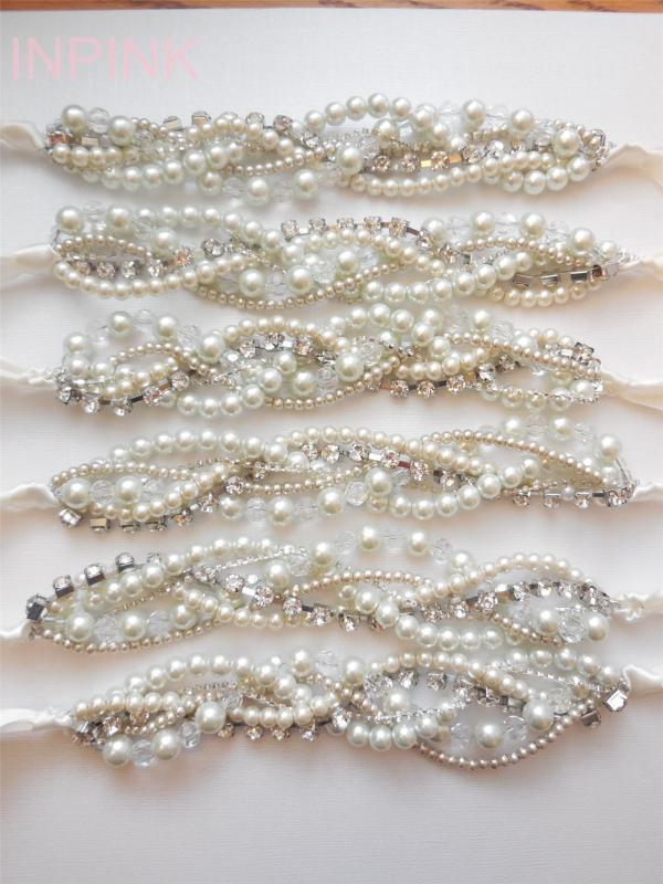 Kurdele elmas taklidi fildişi beyaz şampanya kristal örgülü bükülmüş tıknaz deyimi inci kolye gelin nedimesi