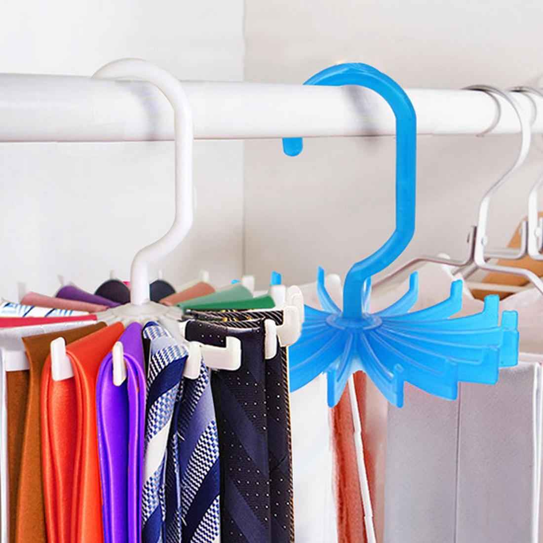 New sale Business Rotating 20 Hooks Belt Neck Tie Holder Rack Hanger Organizer Space Saving tools