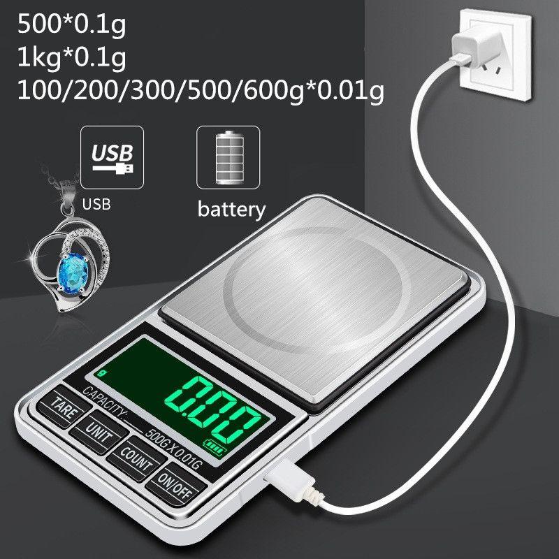 100/200 / 300 / 500g / 600 x 0.01g / 1kgx0.1g Mini Chargeur USB portable Chargeur USB électronique Bijoux de poche numérique balance balance gramme écran LCD