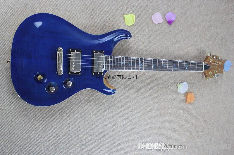 Бесплатная доставка Новые PRS тигровые полосы пользовательских кленовый шпон шпон электрогитара покрытие идеально радиан синий лист гитара HONGYU