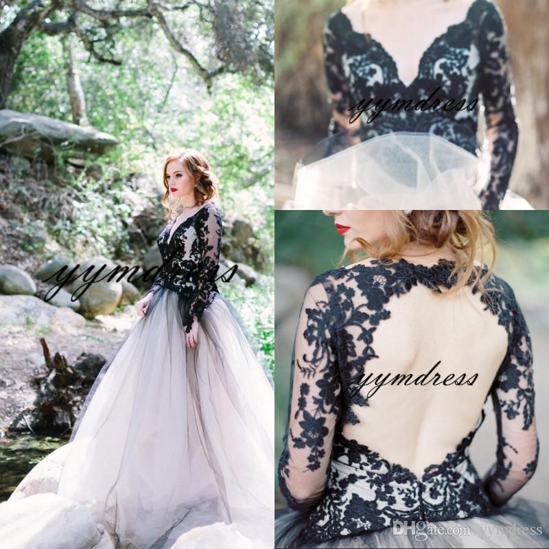 2019 Neue Schwarzweiß-Vintage Brautkleider Western Country Stil mit V-Ausschnitt Backless Illusion langen Ärmeln Gothic Brautkleider