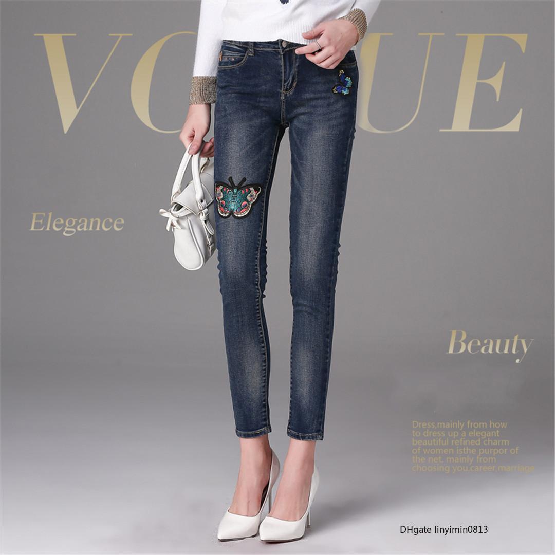 Femmes Designer Jeans luxe Pantalon Jean célèbre modèle G mode élégant papillon broderie Nouveau chaud expédition rapide Arrived