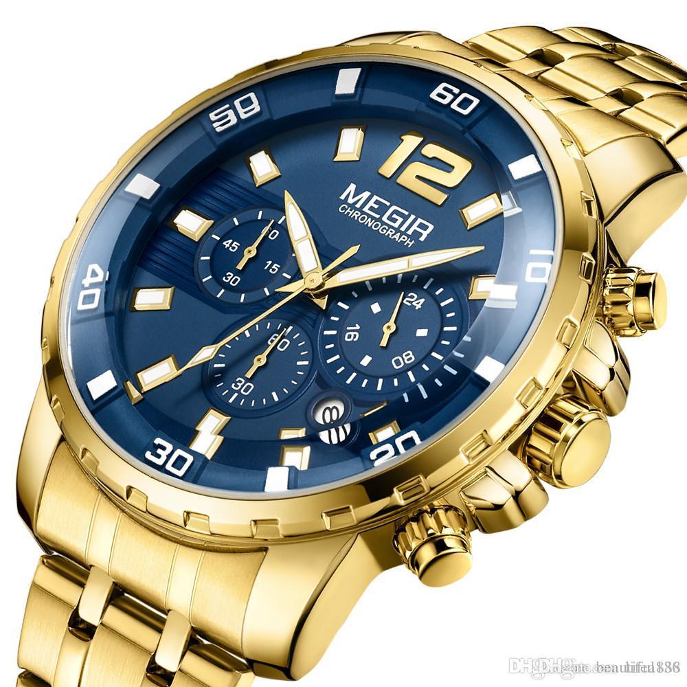 New style MEGIR Quartz Men Watch Top Brand Luxury Military Sport Quartz Watches Clock Men Luminous Business Chronograph