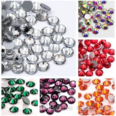 2.0-2.1mm Resin Crystal AB Round Nail Art Mixed Flat Backs Rhinestones Gems, Mix Size, per bag About 1440 Piece Clothing accessories Patch