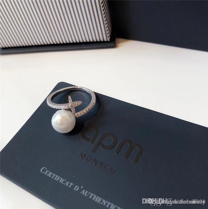 bagues en perles de diamant de luxe réglable Monaco célèbre boîte originale bijoux design de la marque 925 mariage de fiançailles en argent sterling anneaux