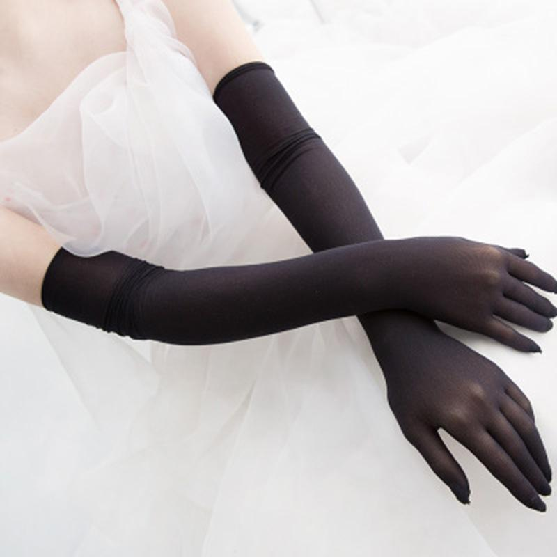 Summer Women Long Elastic Ultra-thin Anti-UV Driving Gloves Black Female Sexy Lace Sunscreen Gloves Party Etiquette H83