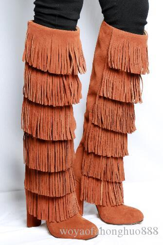 Nouveau style Haute Qualité Bottes à pompons Femininas à bouts ronds Bottes à talons Chunky Bottes au genou Femininas en daim bottes taille 35-43