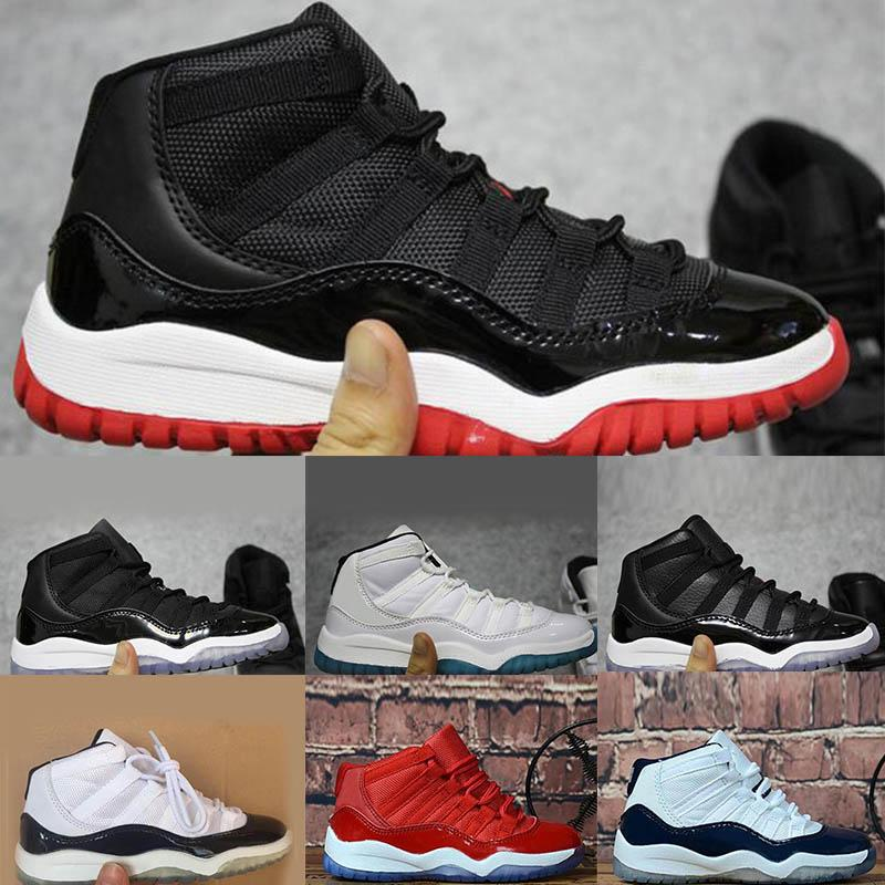 2020 Kids 11 Space Jam Bred Concords Youth fashion Boys Basketball Shoes Sneakers Children Boy Girl Kid 11s White Pink Gray Suede Toddlers