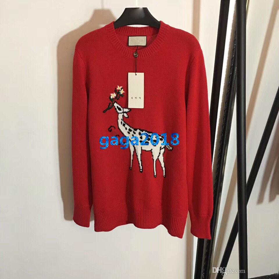 High end kadınlar kızlar örme boy kazak sika geyik mektup motif kazak kazak uzun kollu bluz gömlek moda tasarım lüks üst