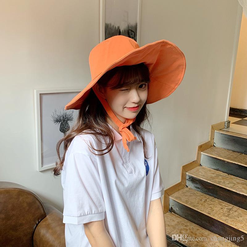 Las mujeres Brimmed sombrero grande cubierto casquillo del verano Pescador sombrero al aire libre de protección solar UV de la manera salvaje sombrero para el sol