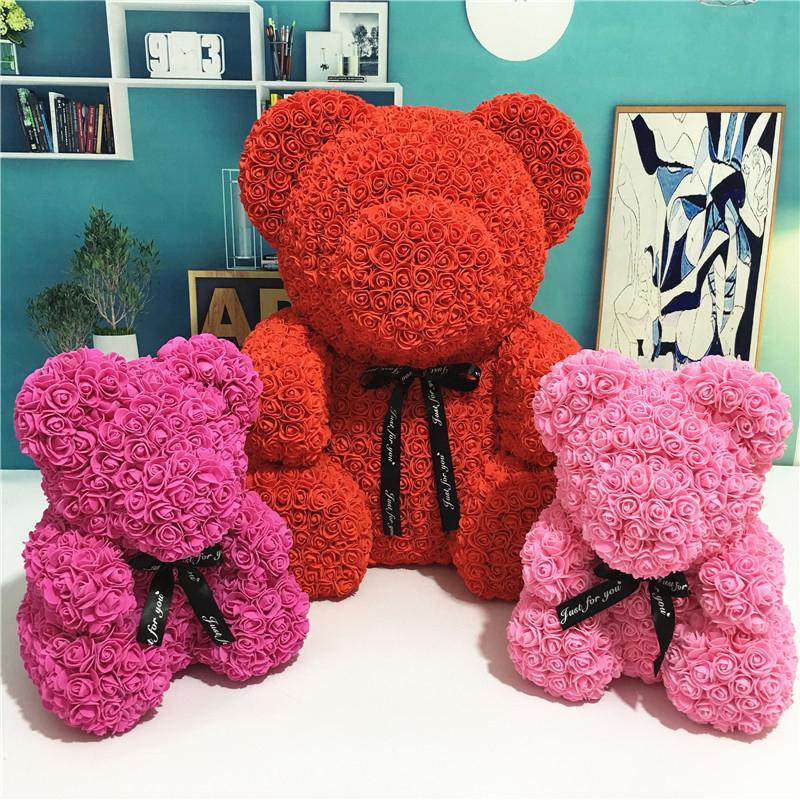 24cm Rose Bär mit Geschenk-Box Geschenk Teddybär Schaum Spielzeug Rose Blumen Künstliche Valentines für Frauen Weihnachten Dropshipping