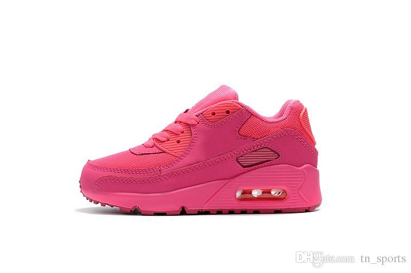 Großhandel Nike Air Max 90 Kinder Schuhe Kinder Klassischen 90 Vt Jungen Mädchen Laufschuhe Schwarz Rot Weiß Sport Trainer Kissen Oberfläche