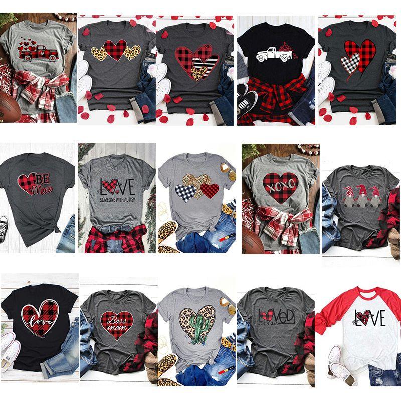 2020 Latest Valentine's Day Heart Car cactus T-shirt Women Casual Cotton Short Sleeve Shirt Girl's O-neck Man Short T-Shirt Valentine Clothe