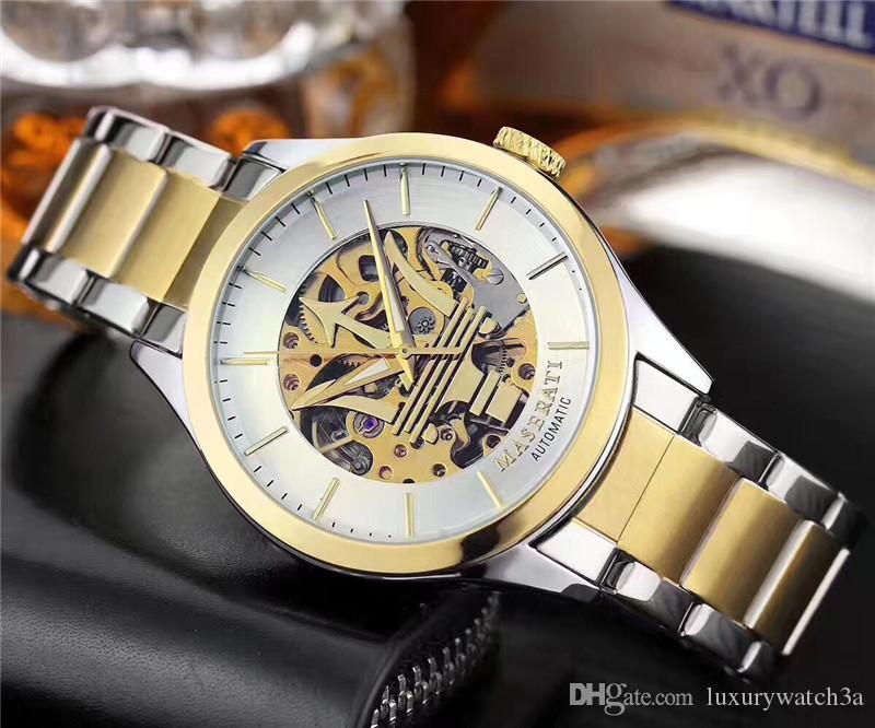 En Lüks Yeni Maserati Erkekler İzle Hollow Otomatik Mekanik Saatler Yüksek Kaliteli Paslanmaz Çelik Tasarımcı Kol reloj de lujo