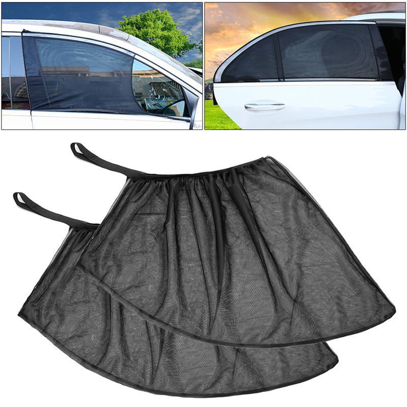 2pcs 자동차 앞 / 뒤쪽 사이드 바이저 그늘 메쉬 커버 실드 양산 UV 프로텍터 쉬어 커튼 블랙 아웃 커튼 Windows