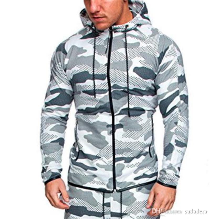 Manga contraste Escudo Color Plus para hombre sizen camuflaje Ropa de deporte Fitness Deportivo larga con capucha para hombre con capucha con la cremallera