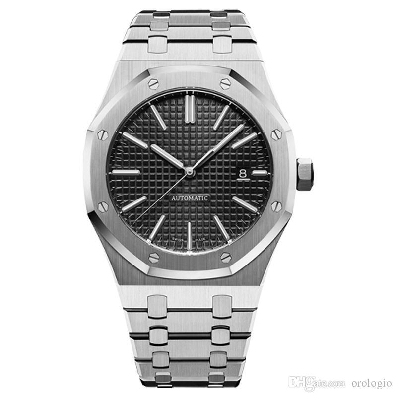 mens montres mécaniques automatiques style classique 42mm complet haut de bracelet en acier inoxydable qualité saphir montres-bracelets lumineux super U1