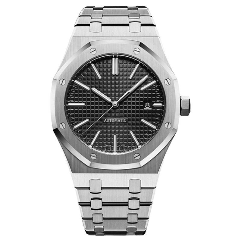 mens stile automatici orologi meccanici classico 42mm orologi da polso con fascia superiore in acciaio inossidabile pieno dello zaffiro di qualità U1 super-luminoso
