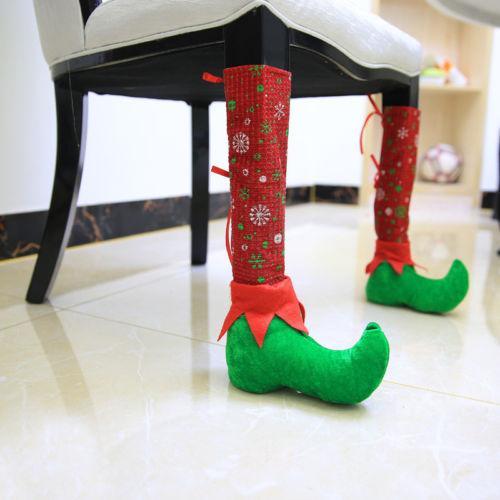 Tabela de Natal Xmas Party Detalhes Elf Pé cadeira ou mesa Perna Covers 1Pcs