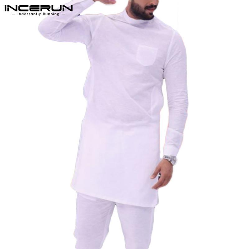 INCERUN 2020 Fashion T Shirt Solid O Neck Sleeve Pockets Hip-hop Tops Pakistan Casual Indian Long T-shirt Men Clothing MX200509
