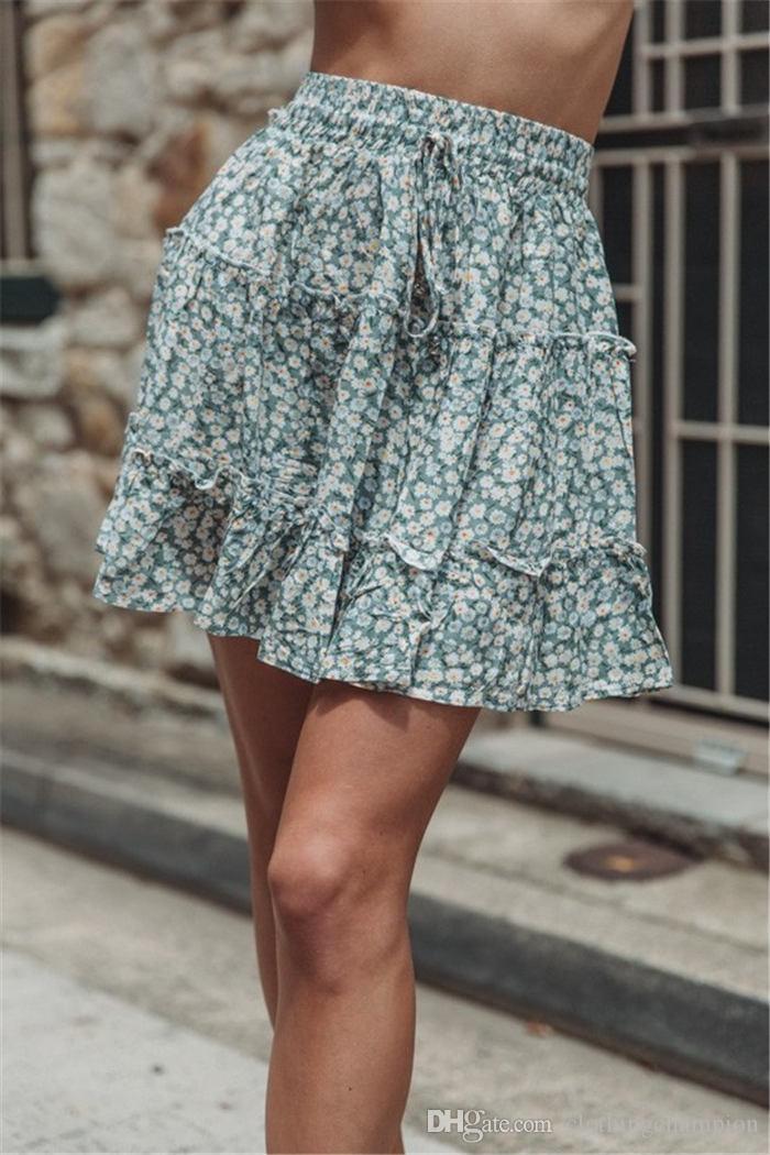 Цветочные Печатные Пляжные Короткие Платья Женщины Выше Колена A Link Платья С Высокой Талией Воланами Летние Платья