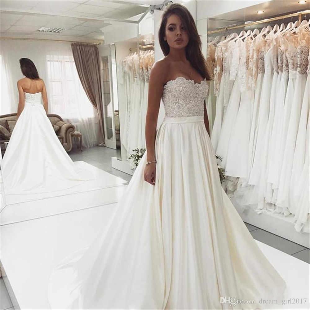 0989a946cfe Modest Strapless Lace Satin Wedding Dresses 2019 High Quality Satin Wedding  Dress Bridal Gowns Custom Made