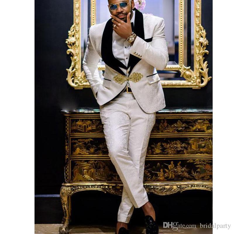 الفاخرة الأبيض 3 أجزاء بدلة رسمية شال أسود التلبيب بذلات الرجال لحضور حفل زفاف العريس الدعاوى بدلة الزفاف سهرة للرجل