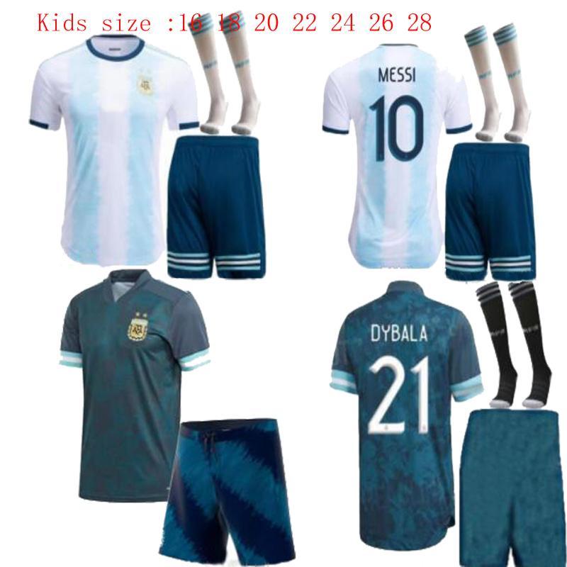 Размер 16-28 2020 Копа Америка Аргентина Messi Kids комплект дома Away синий футбол Джерси Агуэро DYBALA молодежи Ребенок Майо-де-футовый футбол рубашка