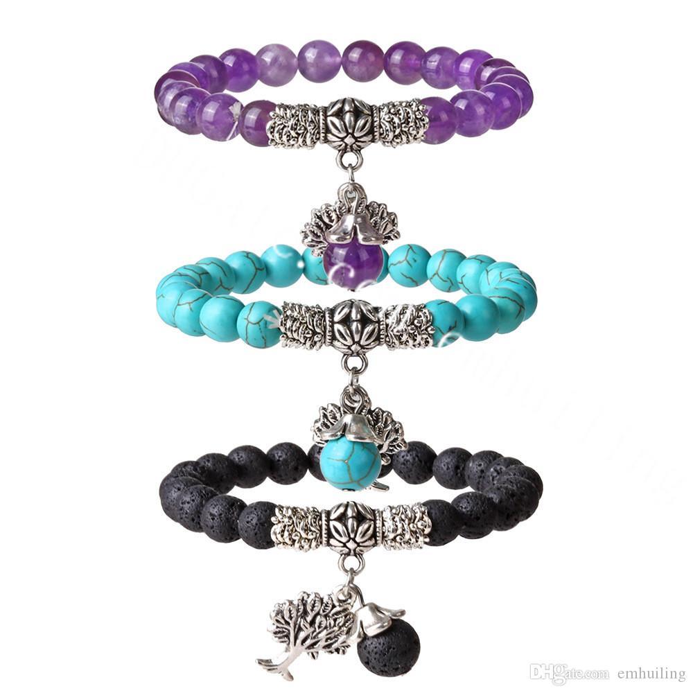 10Pcs Tree of Life Charm Elastic Bracelet Natural Amethyst Carnelian Black Onyx Green Aventurine Rose Quartz Lava Rock Stone Beaded Bracelet