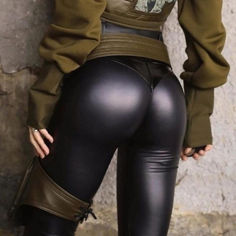 Negro Verano Otoño PU pantalones de cuero de las mujeres de talle alto flaco empuja hacia arriba las polainas de los pantalones del estiramiento elástico atractivo más el tamaño de Jeggings