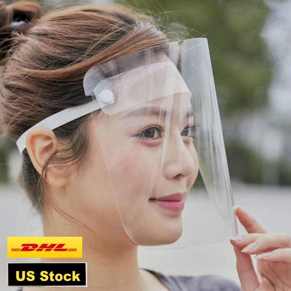 DHL Shipping IN STOCK! Transparent Protective Mask full face shield mascherine fit for adults child rainy riding face cover FY8015