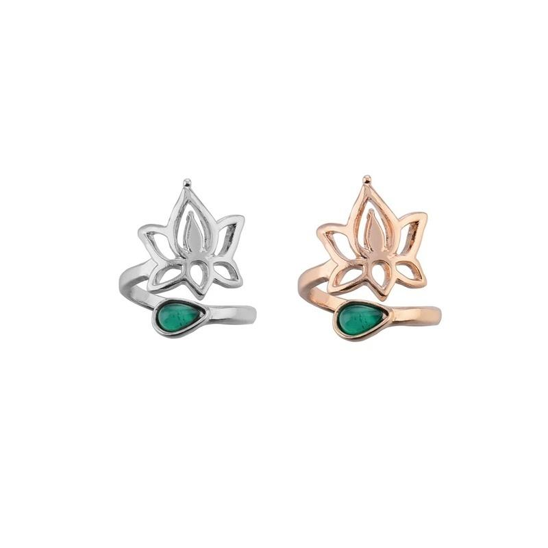 Lotus Flower Alloy Adjustable Toe Ring Open Foot Finger Ring Jewelry Accessories Gift