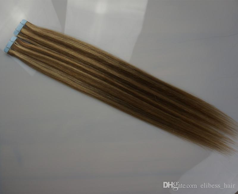 """Длина 16"""" 18"""" 20"""" 22"""" 24"""" Кожа бразильские волосы Уток Remy Pu Tape In на 100% человеческих волос Extensions 2g / шт 40шт много, бесплатная доставка"""
