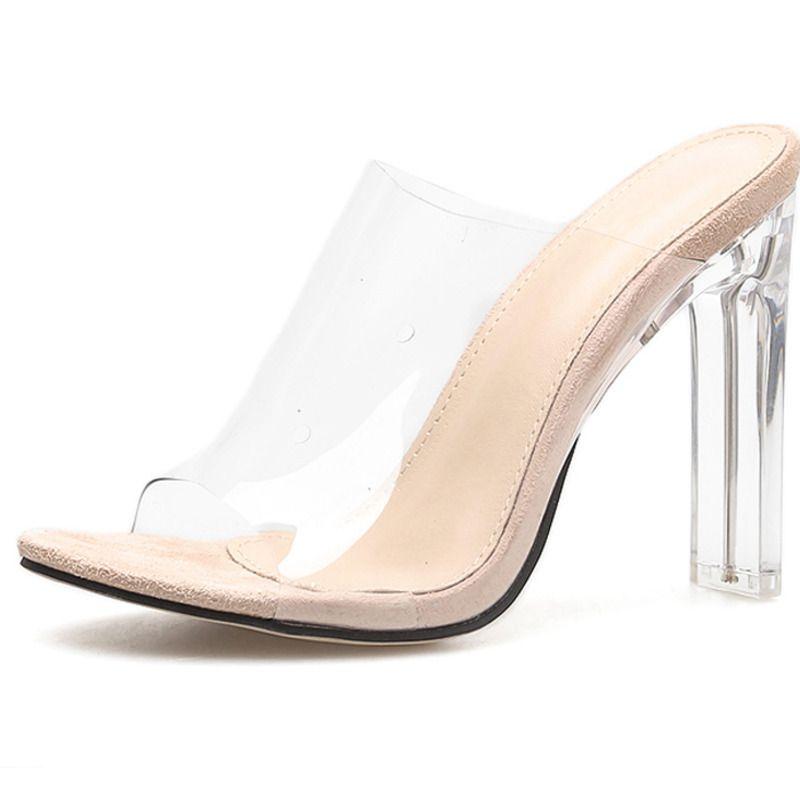 nouveau produit grande collection thésaurisation comme une denrée rare Acheter Femme Mode Transparent Peep Toe Sandales En Plein Air Super Haute  Talon Carré Chaussures D'été Zapatos De Mujer 014C3326 4 De $54.27 Du ...