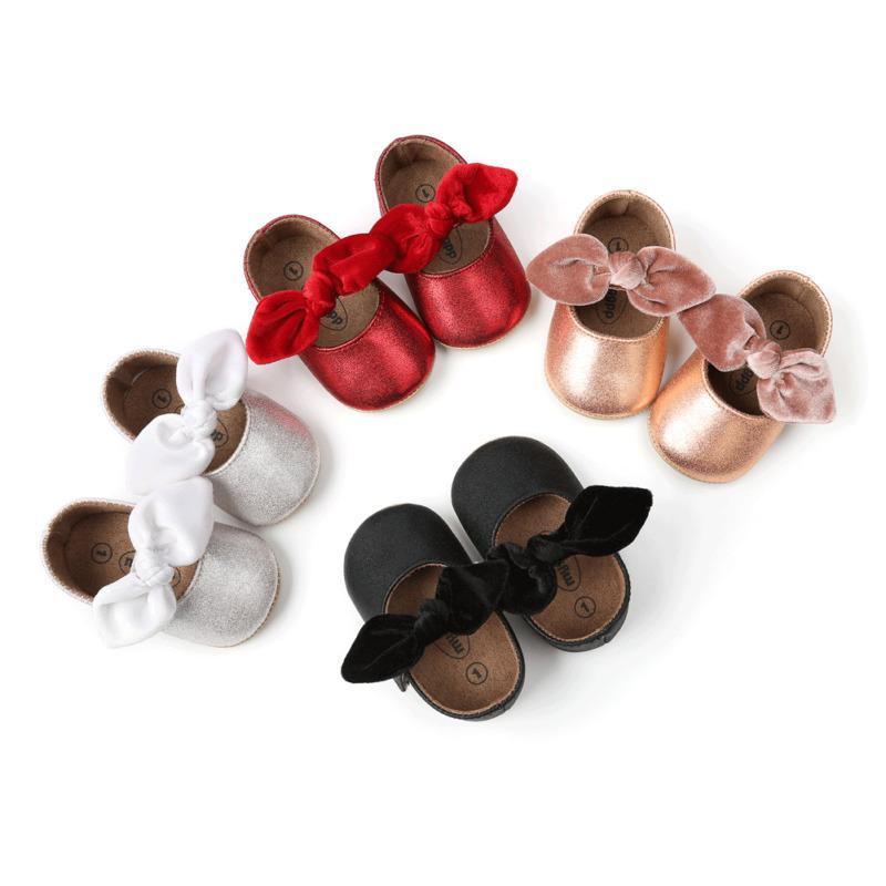 Yenidoğan Bebek Çocuk Kız Bebek Prenses Beşik PU Deri Katı Yumuşak Sole Casual Bow Shoes