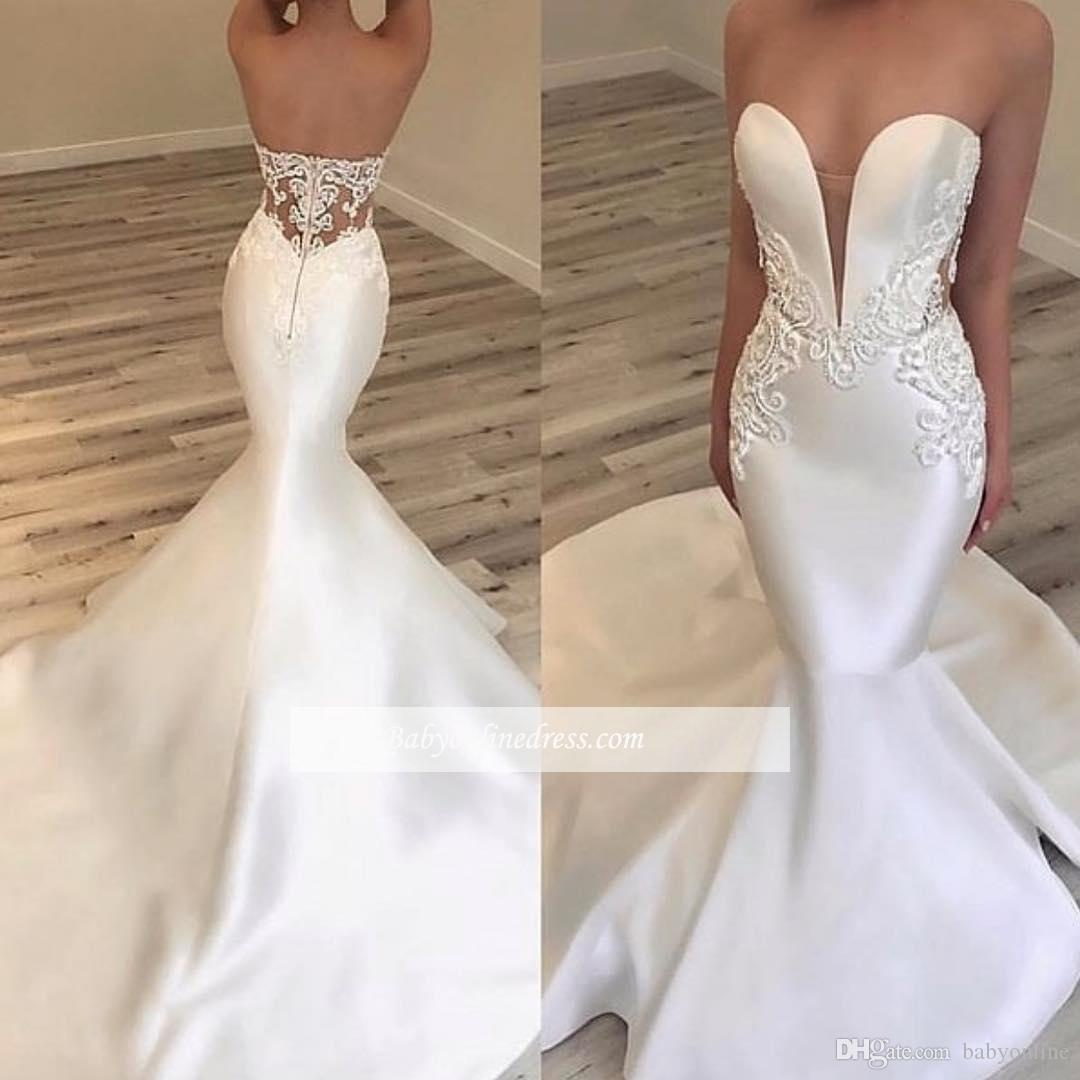 2020 Modern White Ivory Satin Mermaid Wedding Dresses Sweetheart Sexy Appliques Fitted Long Bridal Gowns Cheap