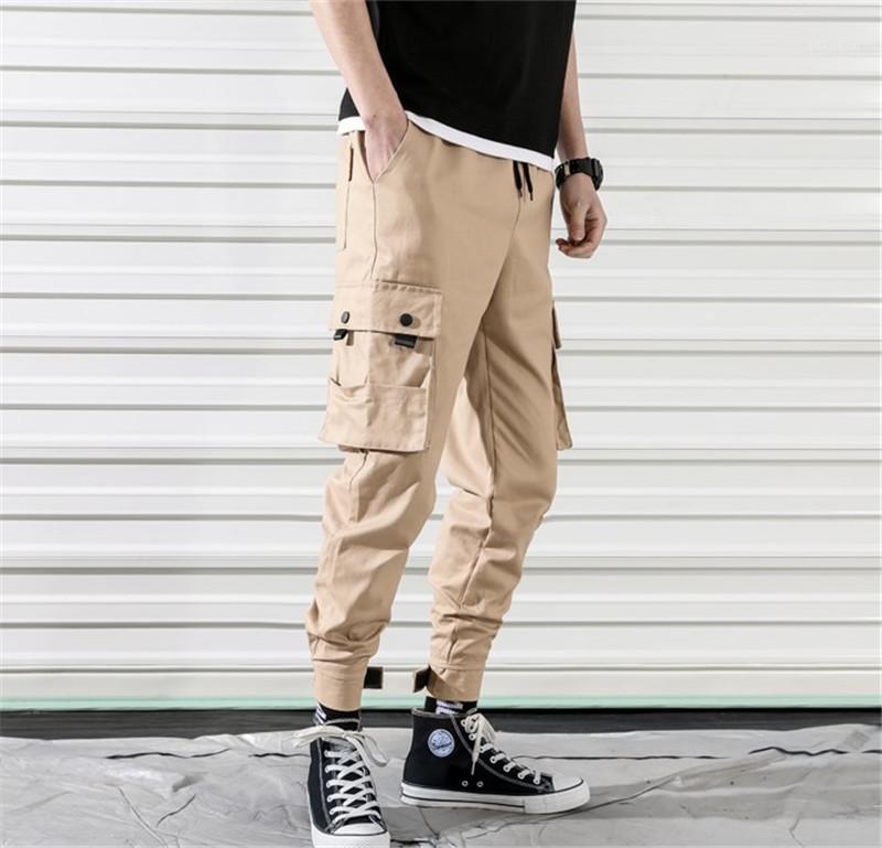 Calças com cordão de carga Mens regulares PURO Calças Cor Mid Capris Mens bolso dos retalhos Calças Moda