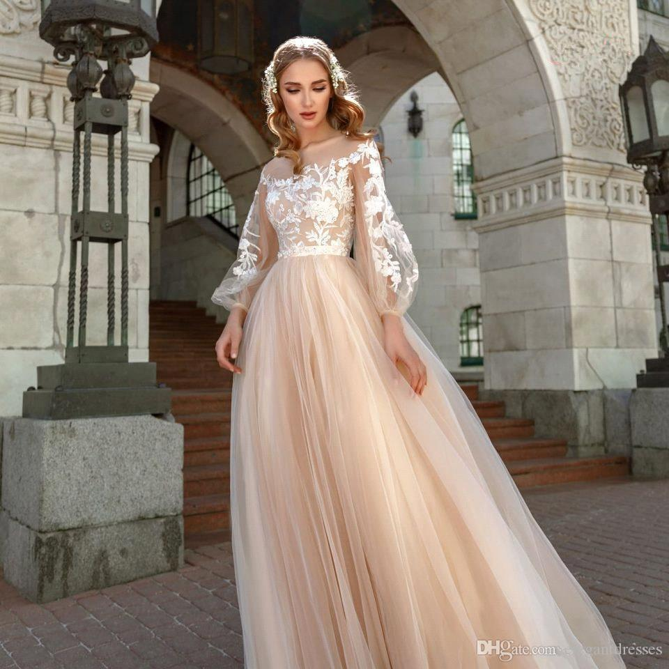 Champagne Elegant Tulle A-Line Wedding Dresses 2020 Lantern Sleeves Lace Applique Bohomia Wedding Bridal Gowns Vestido De Novia