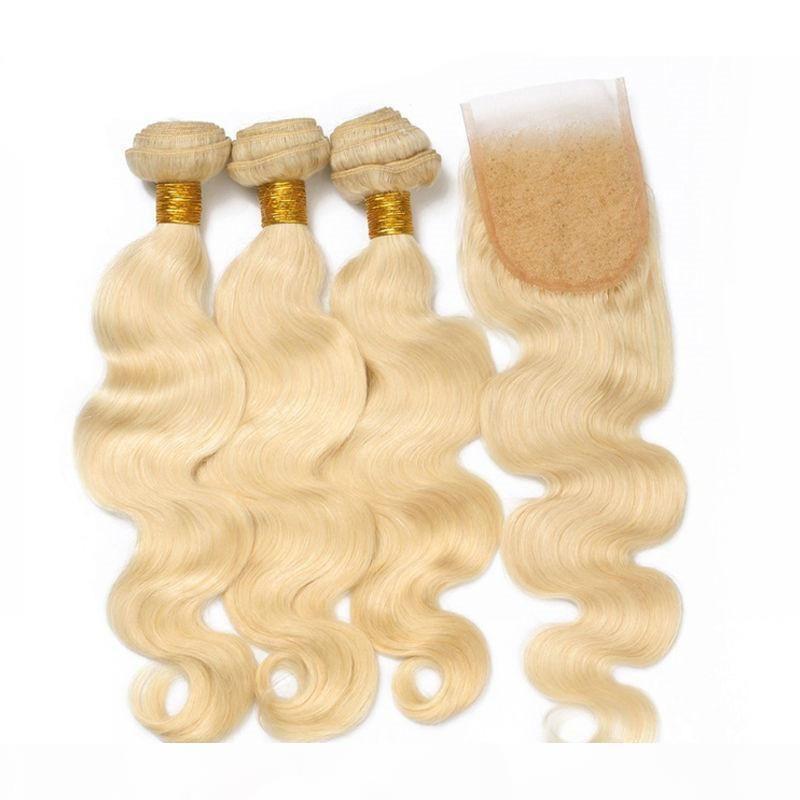 Brasiliana chiusura del merletto con fasci di capelli bundle Body Wave con chiusura parte libera # 613 Capelli biondi tesse con chiusura