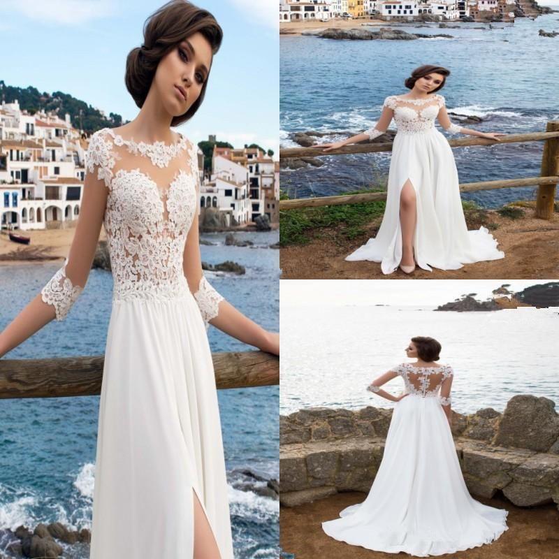 2018 New Chiffon Sheer Jewel Neck A-Line Wedding Dresses Illusion Long Sleeves Thigh-High Slits Summer Beach Bridal Gowns Formal Dresses