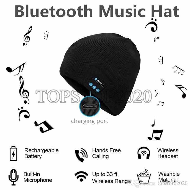 50шт беспроводные наушники Bluetooth музыка шляпа смарт-шапки гарнитура наушники теплые шапочки зимняя шапка с динамиком микрофон для спорта