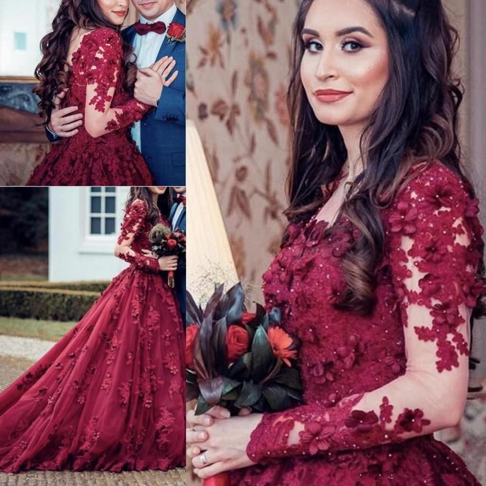 2020 New Sexy Burgundy Ball Gown Quinceanera Dress Sheer Neck Lace 3D Appliques Beaded Sweep Train Puffy Plus Size Custom Prom Evening Gowns