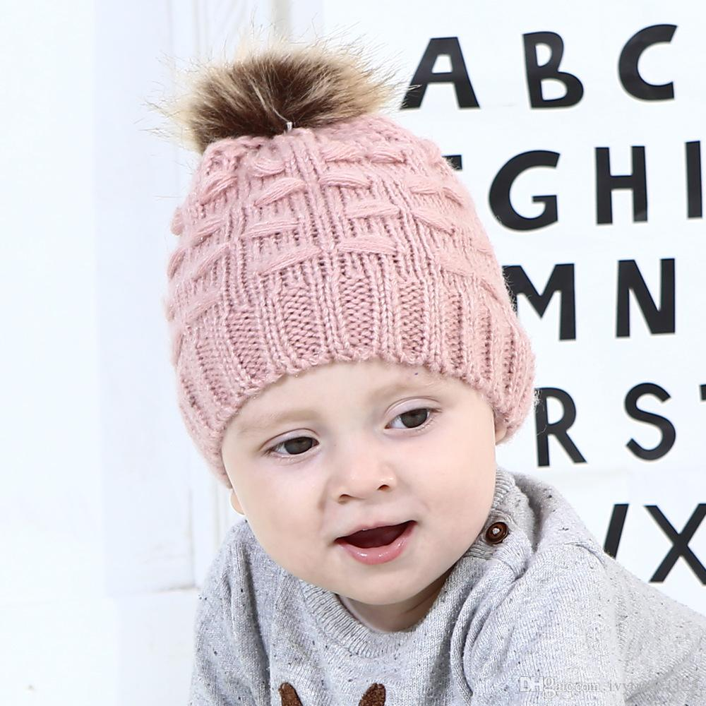 INS 5-Color Baby kids Winter Beanies Fur Solid Color Knitted Toddler Kid Hat Cap Winter Trendy Warm Chunky baby hat